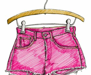 shorts, drawing, and pink image