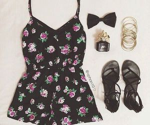 black, flowers, and outfit image