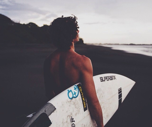 beach, boy, and surf image