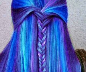 beautiful hair, blue, and colors image
