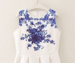 a-line, dress, and floral image