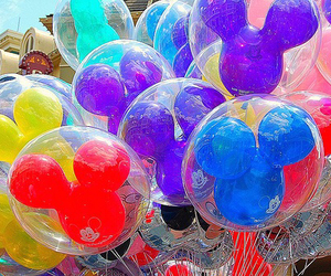 balloons, disney, and mickey image