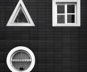 black and white, exterior, and geometric image