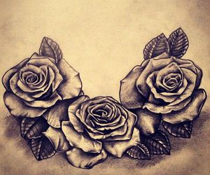 rose, tattoo, and flower image