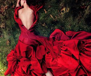 red, photography, and red dress image