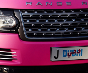Dubai, pink, and range rover image