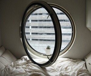 window, bed, and room image
