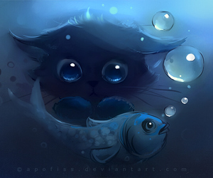 bubbles, kitten, and underwater image