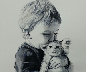 art, blackandwhite, and cat image