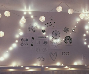 bedroom, black and white, and doodles image