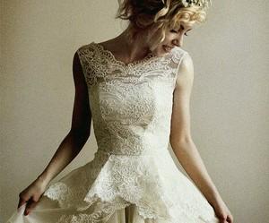 dress, lace, and wedding dress image