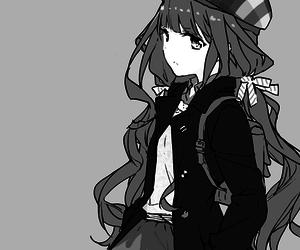 anime girl, monochrome, and art image