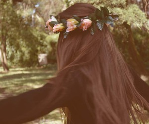 brunette, garden, and flower crown image