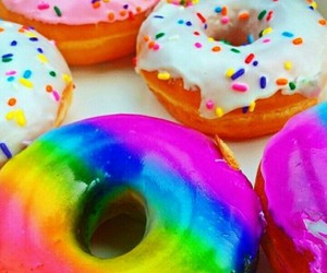 aw, colorful, and donuts image