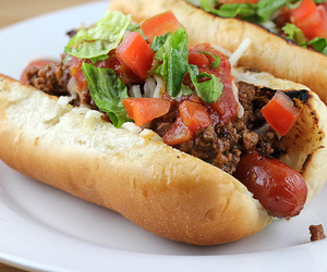 food, veg, and hotdogs image