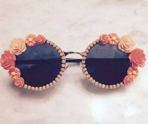 sunglasses, flowers, and fashion image