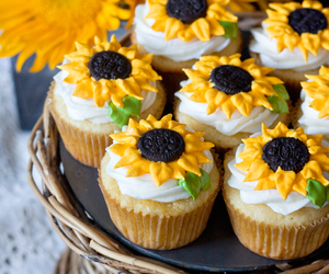 cupcake, food, and sunflower image