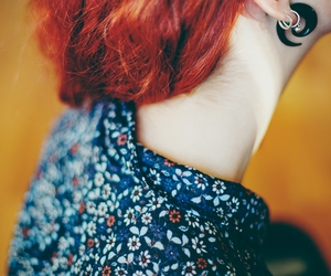 floral, red hair, and expander image