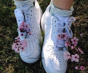 flowers, nike, and shoes image