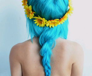 blue, flowers, and braid image