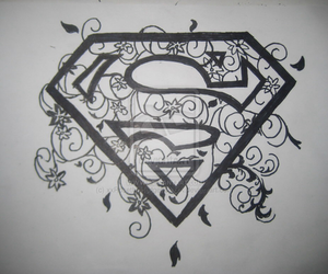 superman, black, and draw image
