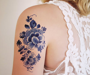 arm, blue, and flower image
