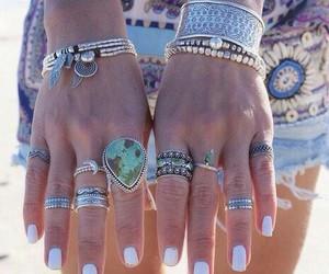 rings, nails, and boho image