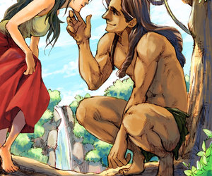 couple, drawing, and tarzan and jane image