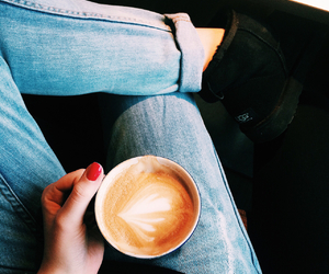 coffee, girl, and jeans image