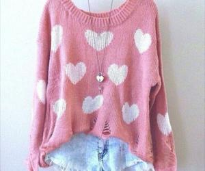 pink, outfit, and heart image