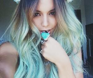 hair, vanessa hudgens, and blue image