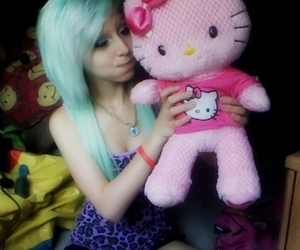 girl, hello kitty, and cute image