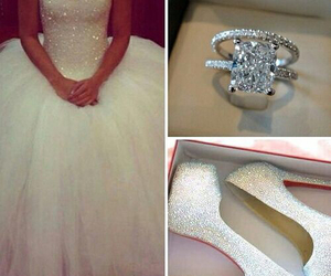 wedding, ring, and dress image