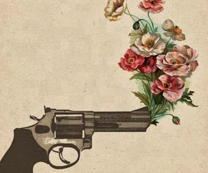 flowers, gun, and rose image