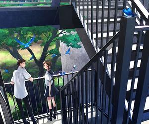 anime, bird, and couple image