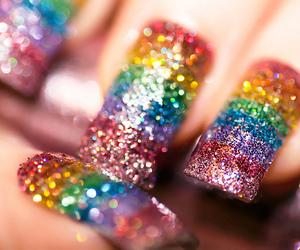 nails, rainbow, and glitter image