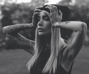 black and white, grunge, and blonde image