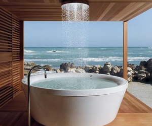 bath, shower, and water image