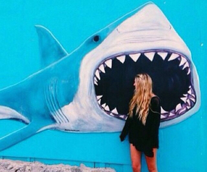 girl, shark, and summer image