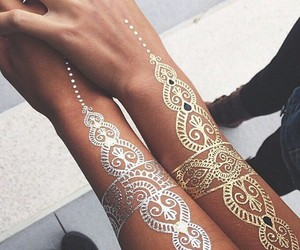 tattoo, gold, and silver image