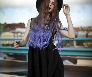 hair, hat, and purple hair image
