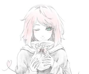 anime, girl, and sakura image