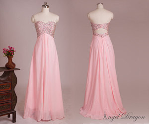 long prom dress, wedding party dresses, and pink long evening dress image