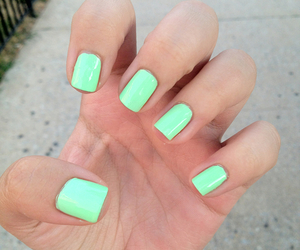 mint, nail, and pretty image