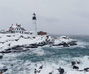 lighthouse, Maine, and snow image