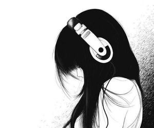 music, anime, and black and white image