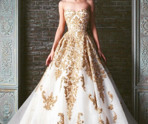 black and blue, wedding dress, and gold lace image