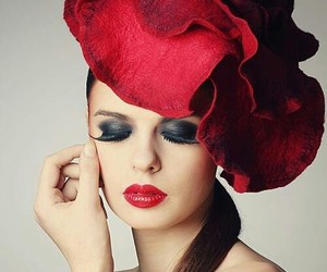 red, hat, and make-up image