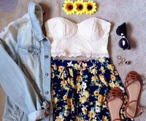 flowers, fashion, and outfit image