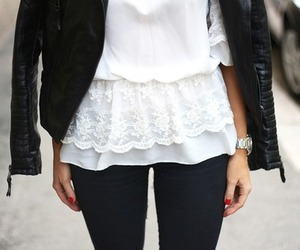 black, blouse, and lace image